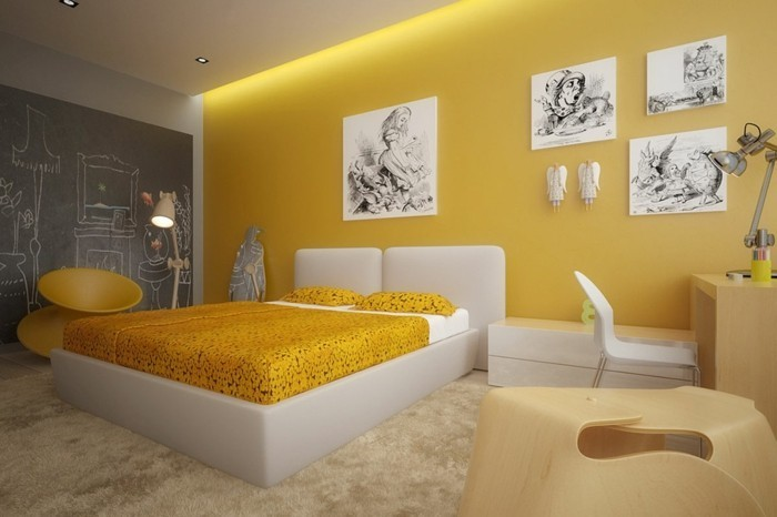 Awesome Chambre Design Jaune Orange Contemporary - House Design ...