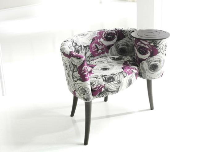 Fauteuil-contemporain-motifs-fleurs-arrondi