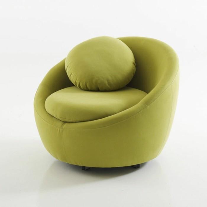 Fauteuil-vert-coussin-rond