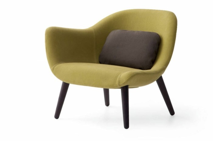 Fauteuil-vert-design-coussin-marron