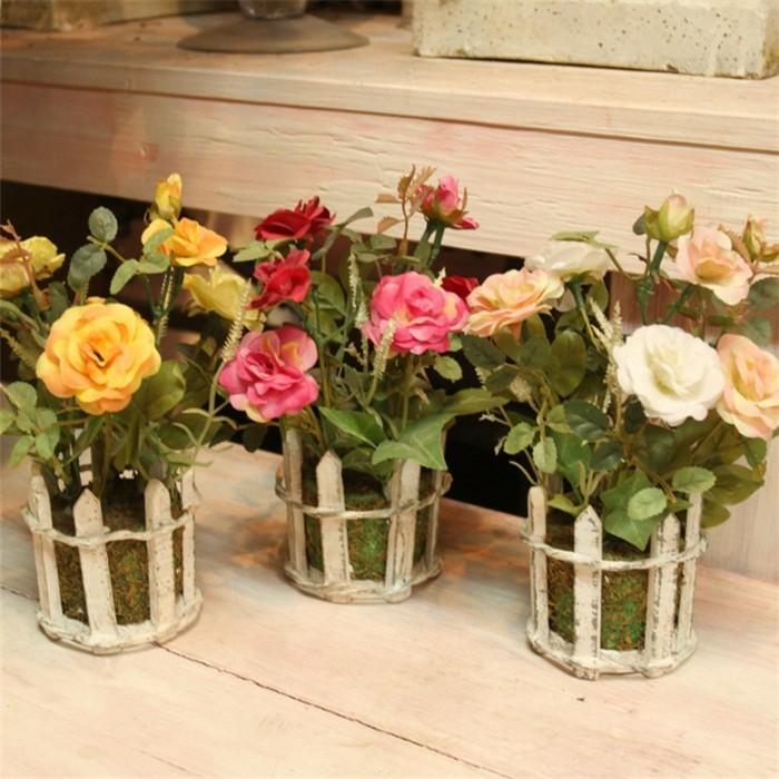 High-grade-Small-Silk-Flowers-Bonsai-Basket-Artificial-Flowers-For-Decoration-Simulation-Suit-Pot-Wedding-Home