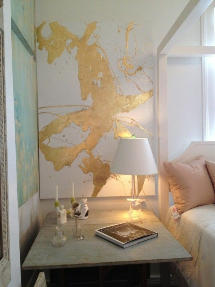 Huile-et-peinte-naturelle-couleur-tendance-pour-chambre-à-coucher-doree