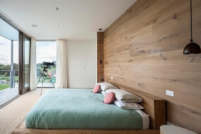 Intérieur-idée-déco-couleur-de-chambre-à-coucher-moderne-aménagement-en-bois