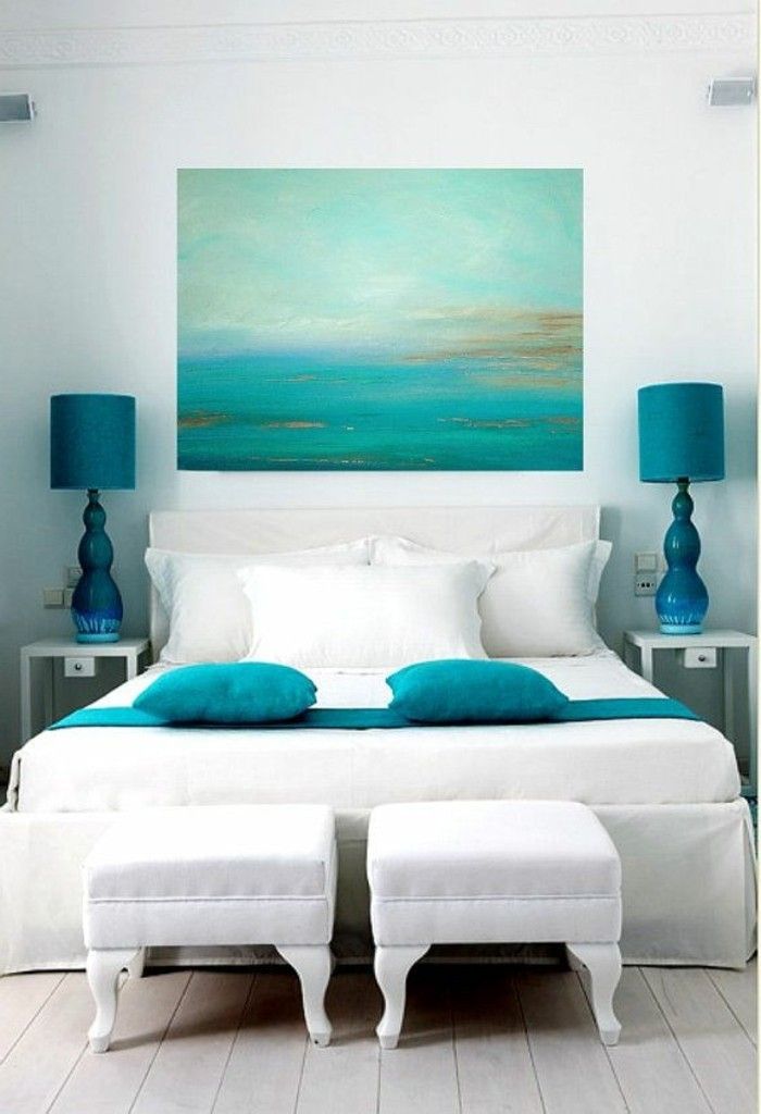 Les meilleures id es pour la couleur chambre coucher for Chambre a coucher bleu turquoise