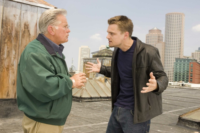 """Undercover cop Billy Costigan (LEONARDO DiCAPRIO) lets Captain Queenan (MARTIN SHEEN) know he's running out of time in Warner Bros. Pictures' crime drama """"The Departed."""" PHOTOGRAPHS TO BE USED SOLELY FOR ADVERTISING, PROMOTION, PUBLICITY OR REVIEWS OF THIS SPECIFIC MOTION PICTURE AND TO REMAIN THE PROPERTY OF THE STUDIO. NOT FOR SALE OR REDISTRIBUTION."""
