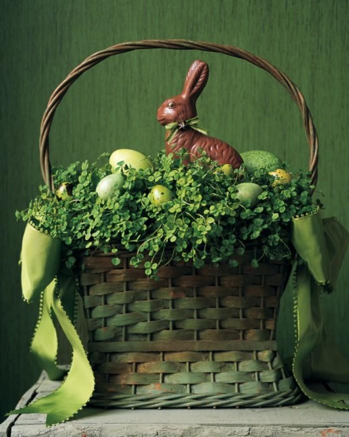 activités-manuelles-paques-decor-de-paques-deco-de-paques-a-faire-en-vert-chocolat-lapin