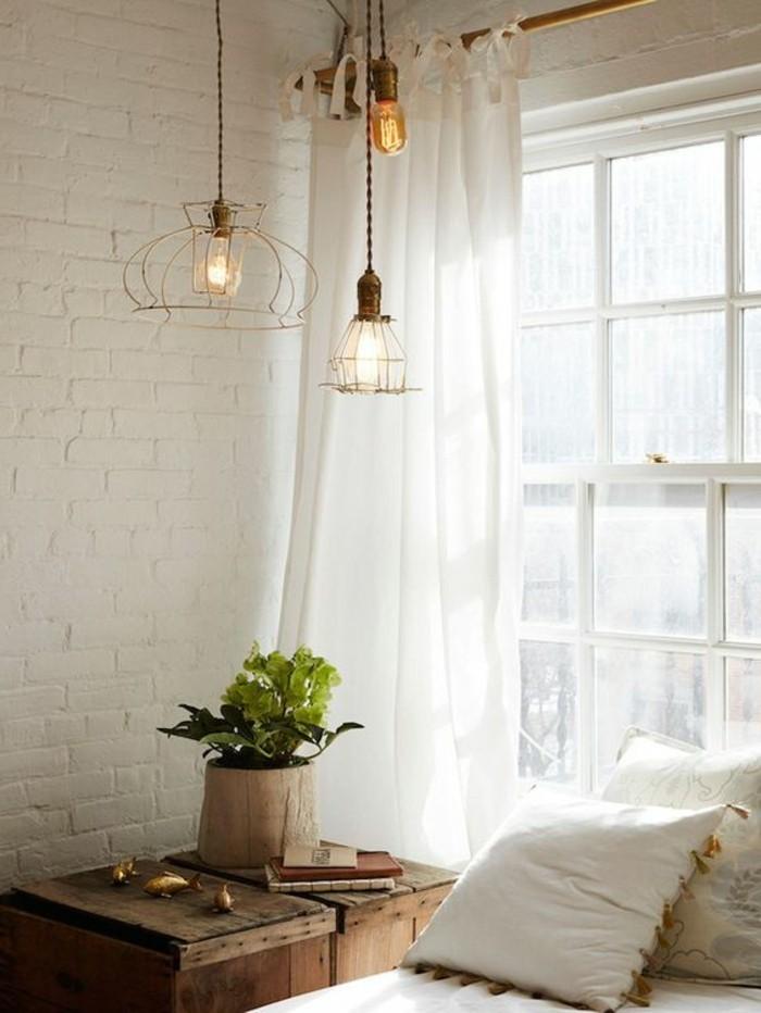 belle-idée-pour-le-plafonnier-luminaire-suspension-luminaire-cuisine-une-chambre-à-coucher-lit-rustique-moderne