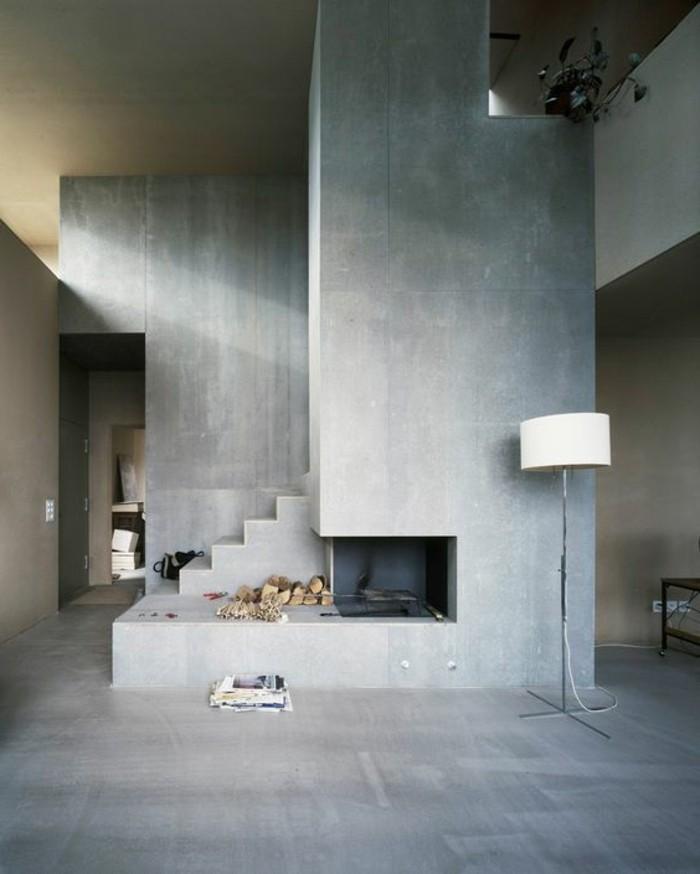 beton-decoratif-plan-de-travail-béton-cire-sol-gris-en-beton-gris-interieur