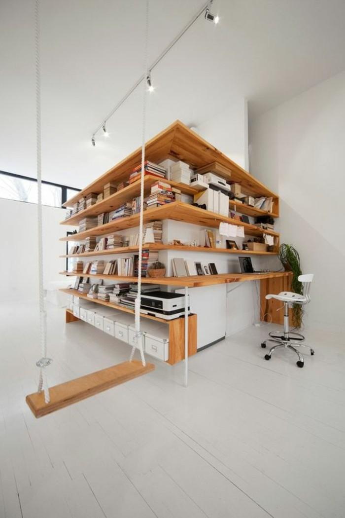 bibliotheque-conforama-étagère-bibliothèque-en-bois-clair-sol-en-planchers-blancs