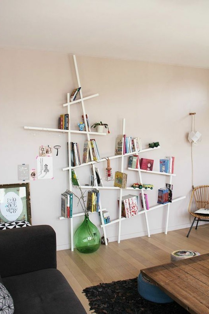 bibliotheque-conforama-etagere-murale-en-bois-blanc-mur-beige-interieur-chic-moderne