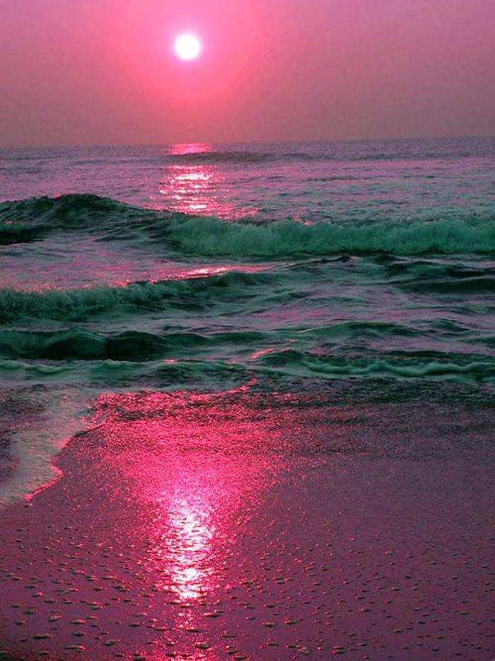 bord-de-la-mer-paysage-en-rose