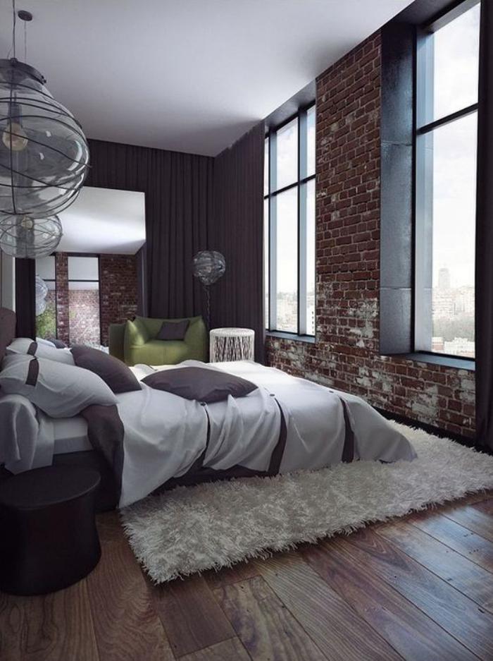 brique-rouge-chambre-à-coucher-spacieuse-murs-en-briques
