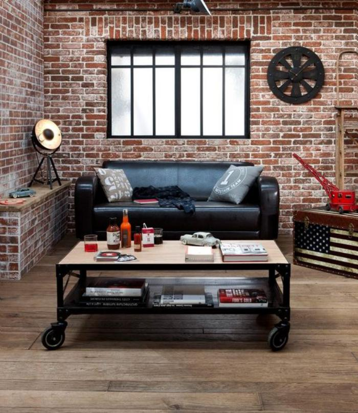 La brique rouge l ment d co principal du loft contemporain - Decoration salon industriel ...