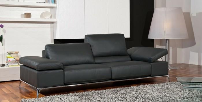 canape-cuir-gris-tapis-de-salon-meubles-de-salon-chic-italiens-natuzzi-canapé