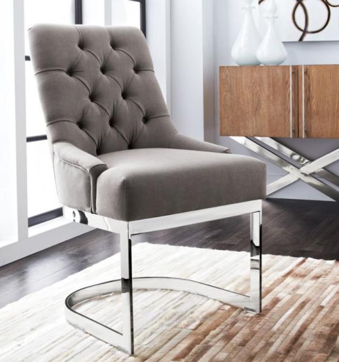 chaise-capitonnée-acier-et-textile