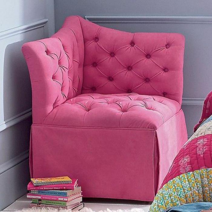 chaise-capitonnée-chaise-rose-d'angle-chaise-de-chambre-de-fille