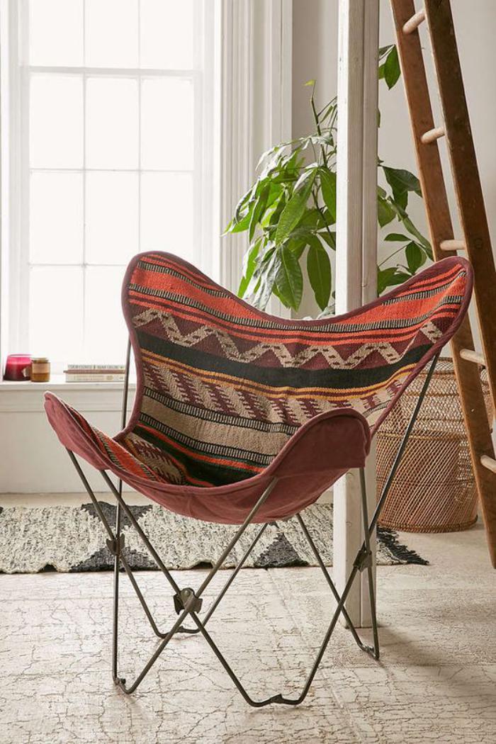 chaise-papillon-fauteuil-papillon-toile-bariolée