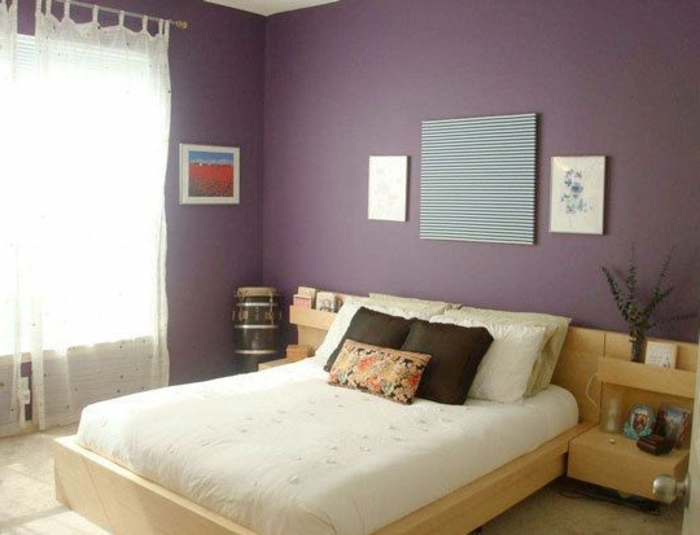 chambre a coucher violet et gris associer la couleur. Black Bedroom Furniture Sets. Home Design Ideas