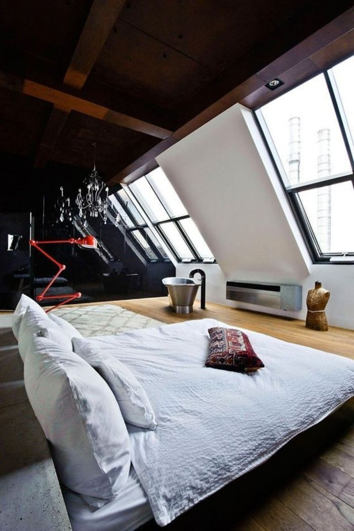 Lit Double Bois Clair : coucher-sol-en-bois-clair-chambre-a-coucher-double-lit-double