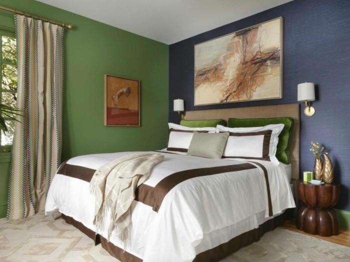 chouette-en-bleu-et-vert-idée-pour-la-belle-couleur-chambre-à-coucher-décoration-murale