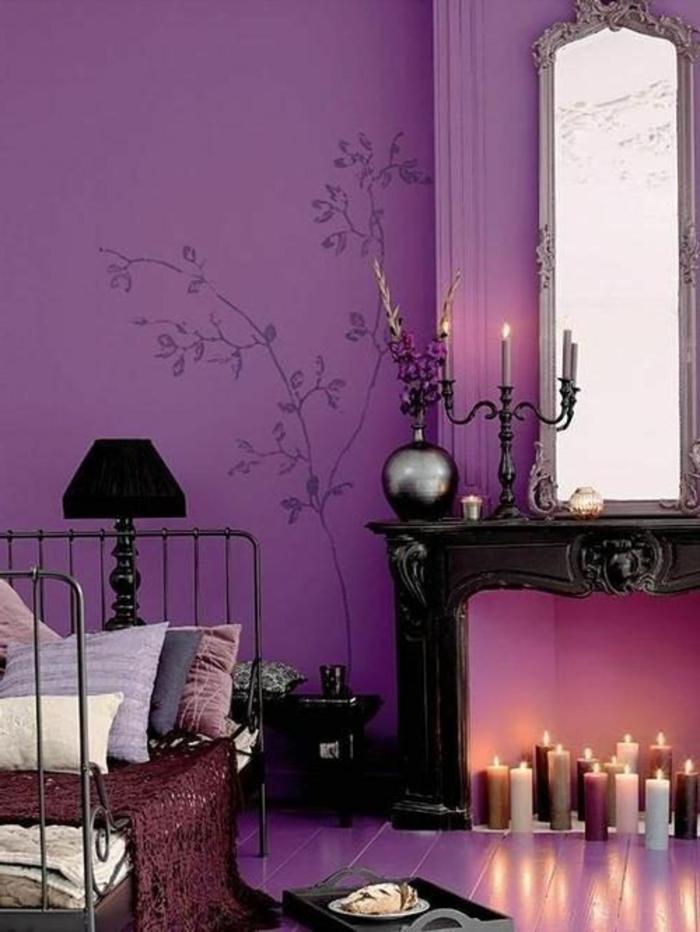 comment-associer-prune-couleur-chambre-a-coucher-idee-deco-cheminee-d-interieur
