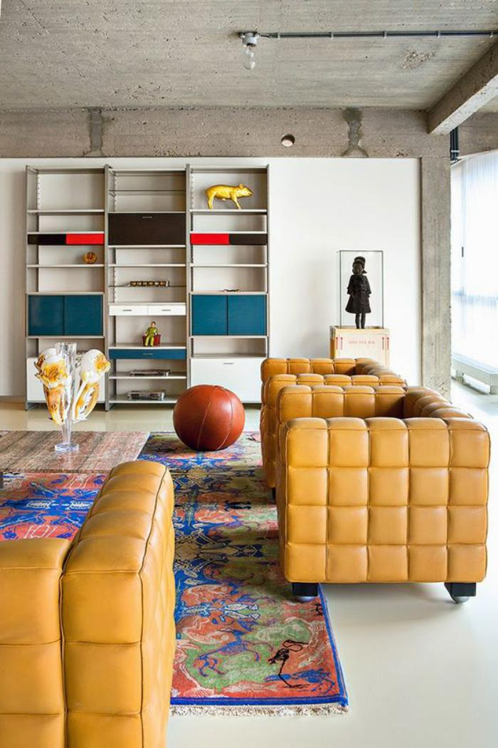 couleur-ocre-mobilier-moderne-ocre-sofas-rectangulaires