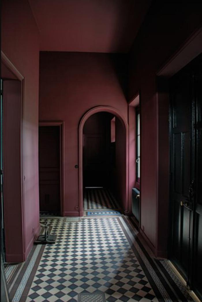 couloir-avec-murs-couleur-prune-sol-en-careaux-blancs-noirs-murs-colores-couloir-violette