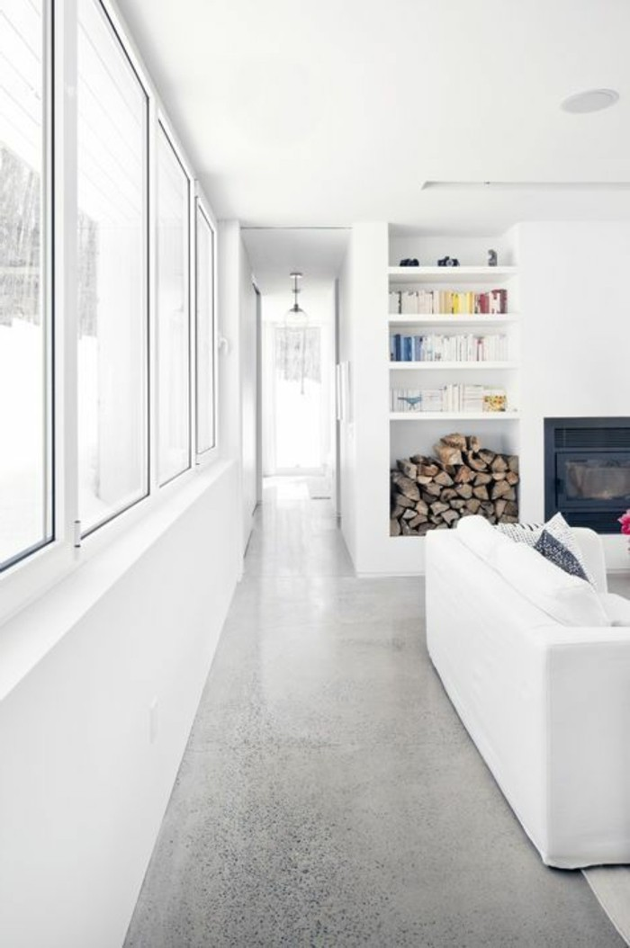couloir-gris-plan-de-travail-béton-ciré-béton-décoratif-sol-gris-meubles-blancs-salon-chic-murs-blancs