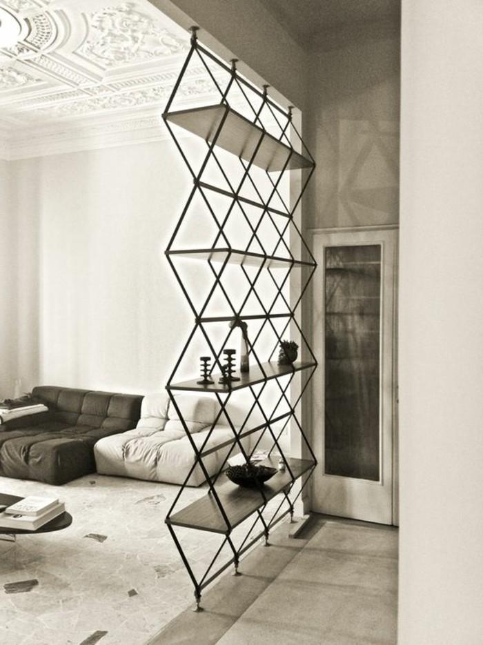 etagere-design-contemporain-bibliothèque-conforama-pour-votre-salon-moderne-plafond-haut-blanc
