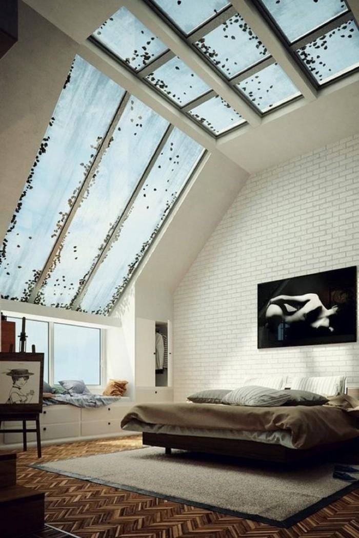 fenêtre-de-toit-velux-pour-la-chambre-a-coucher-chic-meubles-beiges-en-bois