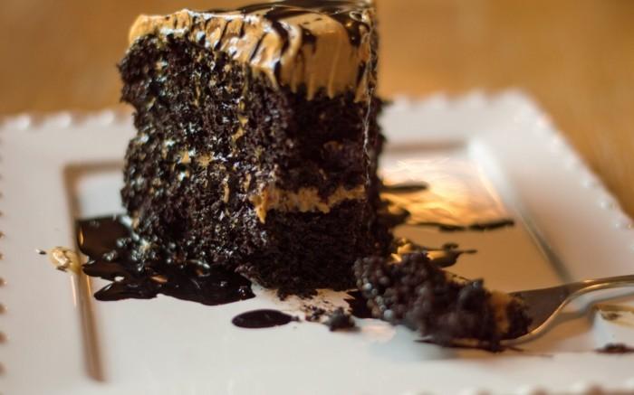 Missing Bite Slice of Creamy Dreamy Chocolate Peanut Butter Cake