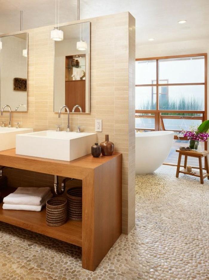Le carrelage galet pratique rev tement pour la salle de bain - Leroy merlin lavabo salle de bain ...