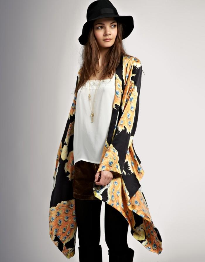 hippie-chic-robe-boheme-cool-idée-tenue-de-jour-moderne-en-tendance-chapeau-noir