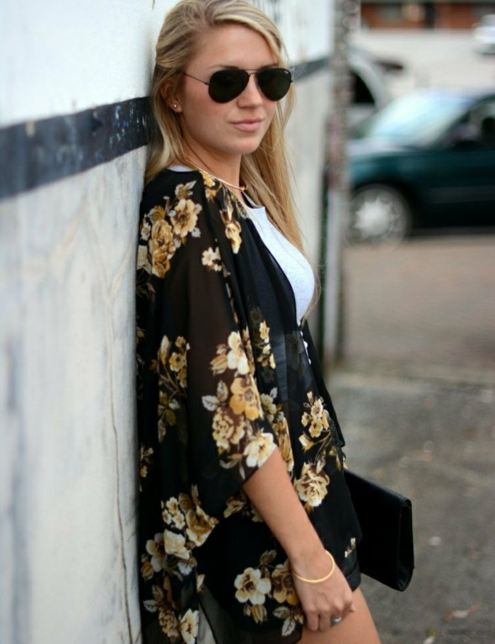 Veste noire fleurie femme