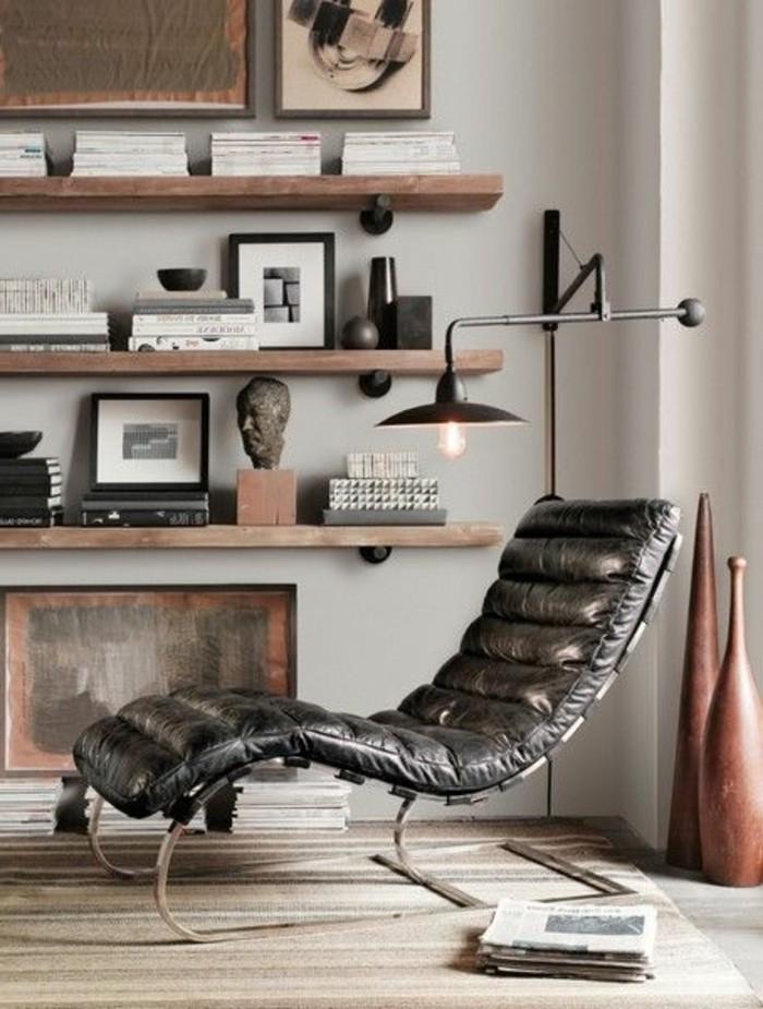 Etagere Bois Ikea : ikea-etagere-canape-lecture-en-cuir-noir-joli-interieur-de-salon-en