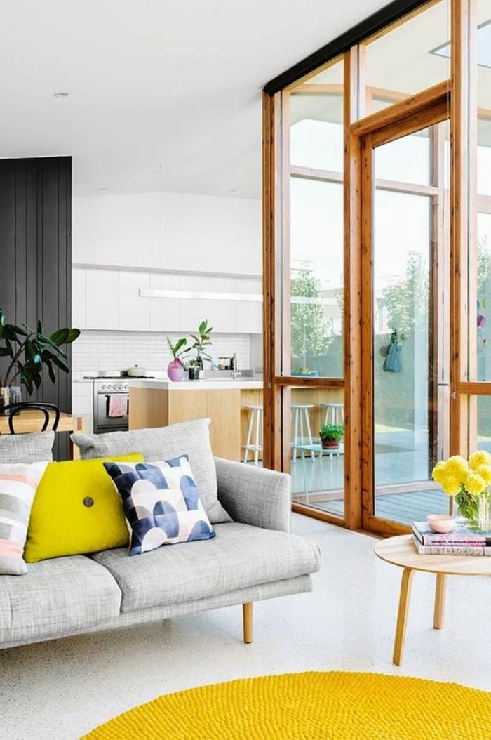 tapis de salon jaune. Black Bedroom Furniture Sets. Home Design Ideas