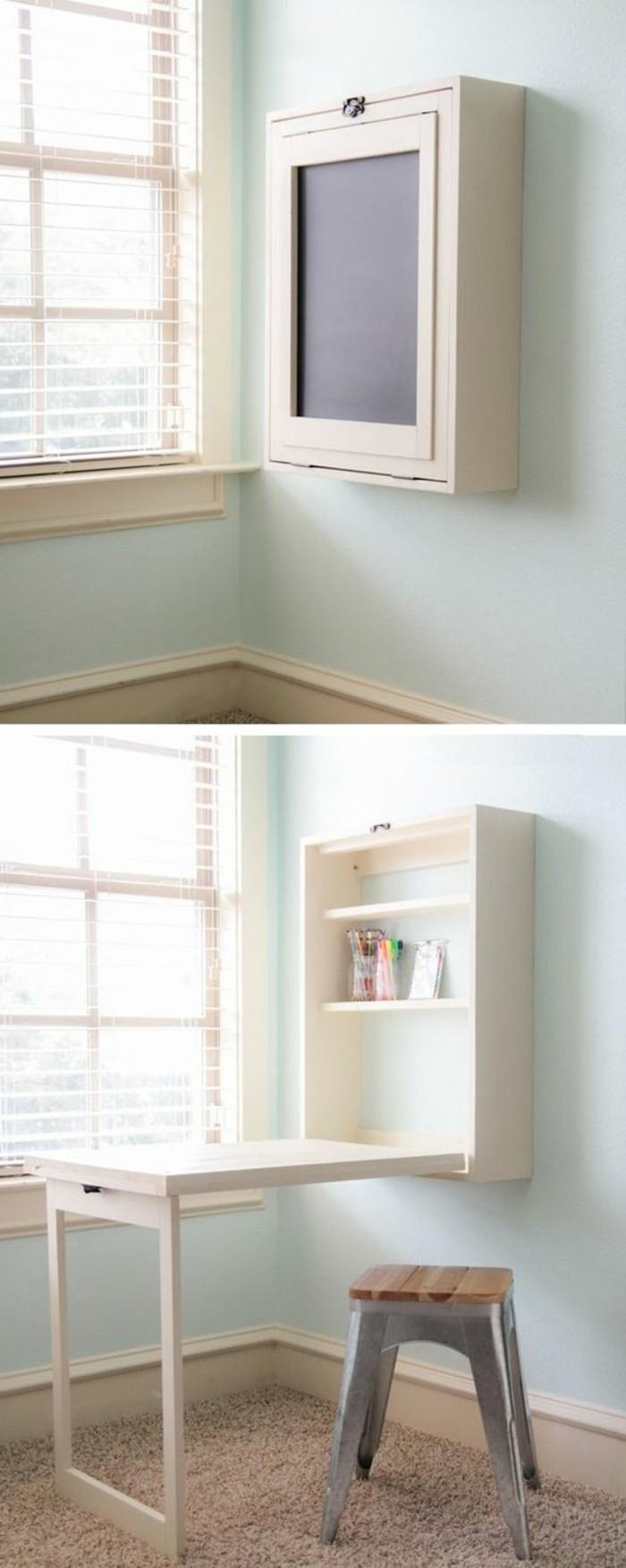 jolie-idee-pour-votre-bureau-en-bois-clair-bureau-pliable-ikea-en-bois-clair-mural