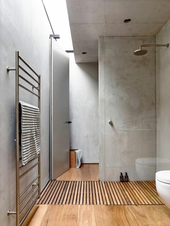Salle De Bain Beton Ciré Gris : jolie-salle-de-bain-en-beton-decoratif-plan-de-travail-béton-cire-sol …