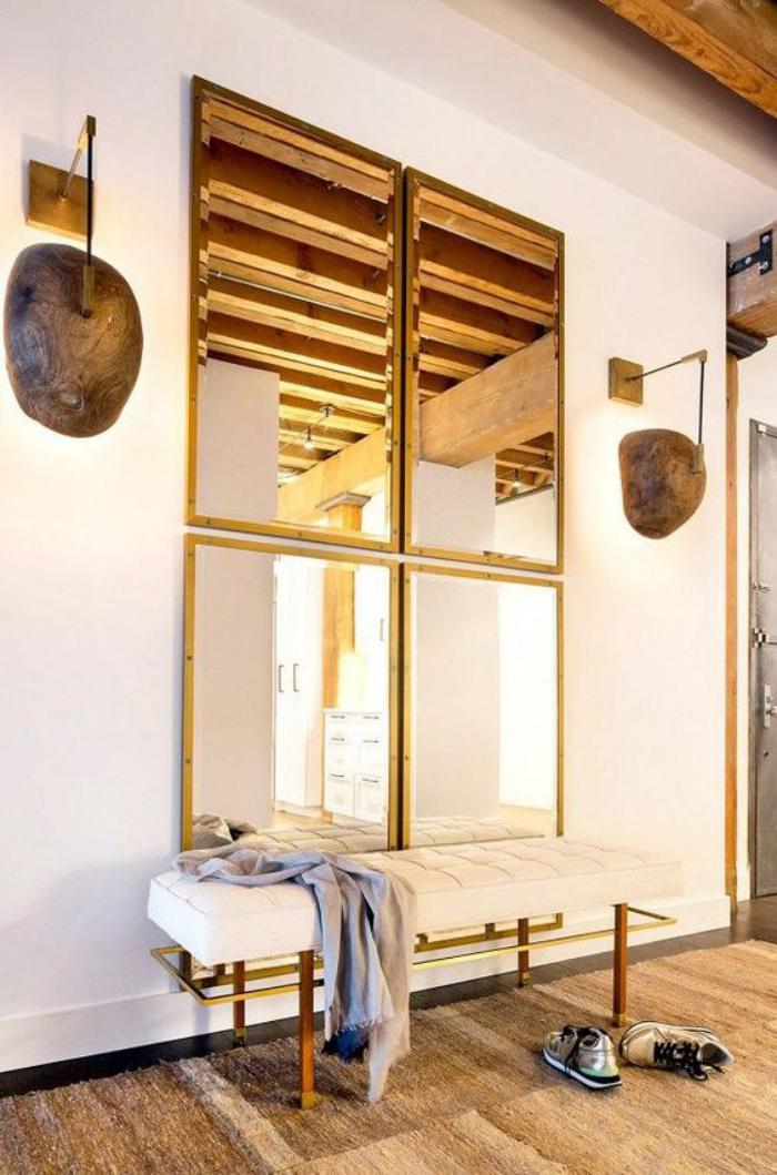 miroir-doré-ensemble-de-quatre-miroirs-dorés-au-mur