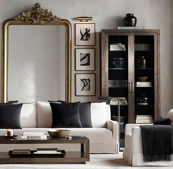 le miroir dor en 40 photos. Black Bedroom Furniture Sets. Home Design Ideas