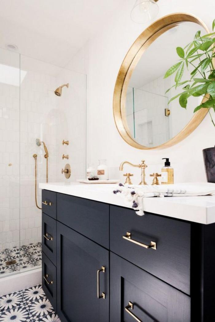 miroir-doré-miroir-mural-rond-de-salle-de-bain