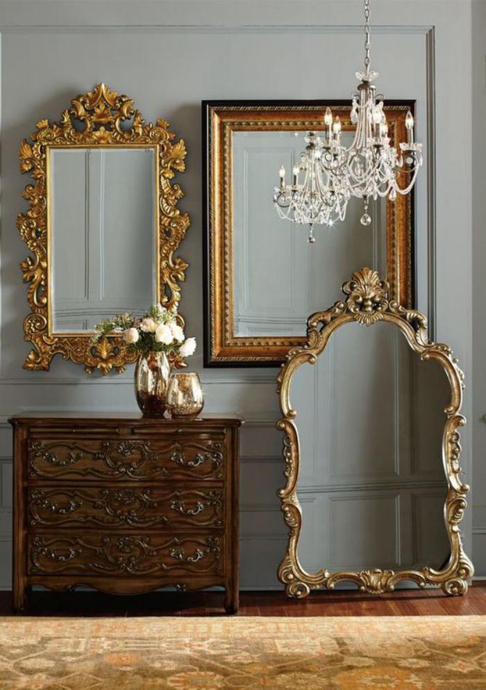 miroir-doré-trois-miroirs-anciens-à-l'encadrement-doré