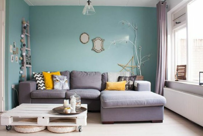 Comment associer les couleurs d 39 int rieur simulateur de - Grey and duck egg blue living room ideas ...