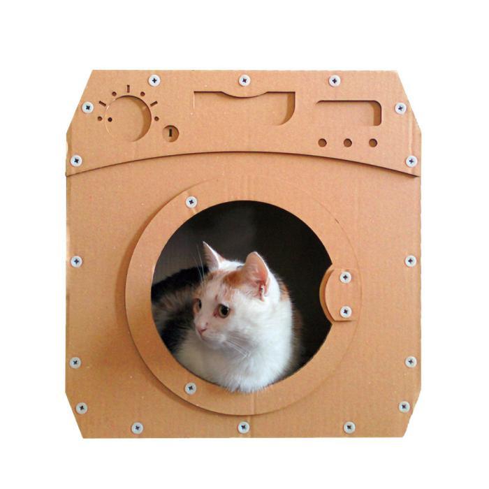 niche-pour-chat-maisonette de chat en carton
