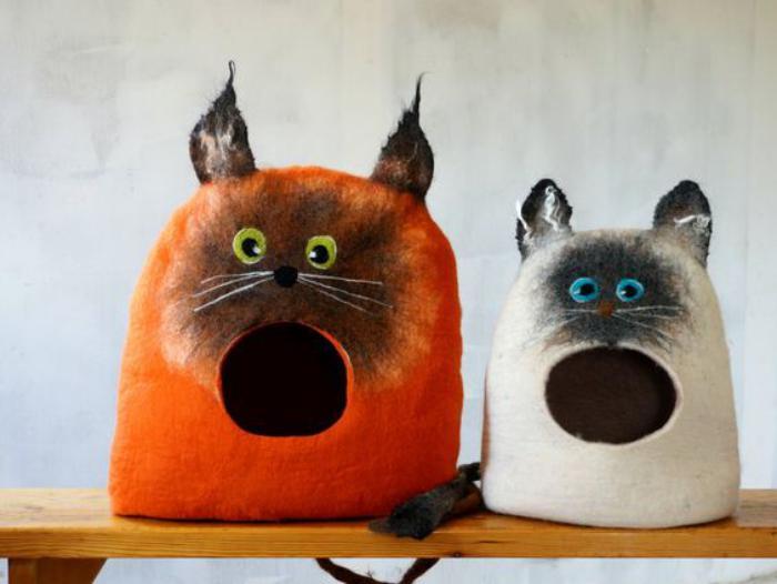 niche-pour-chat-abri-de-chat-en-laine-feutrée