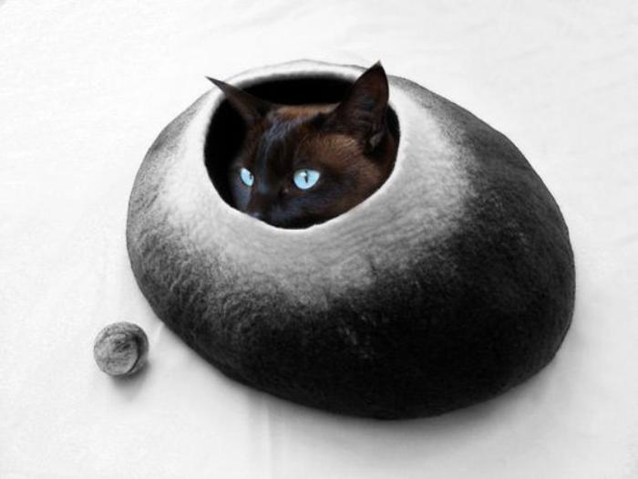 panier chat feutrine