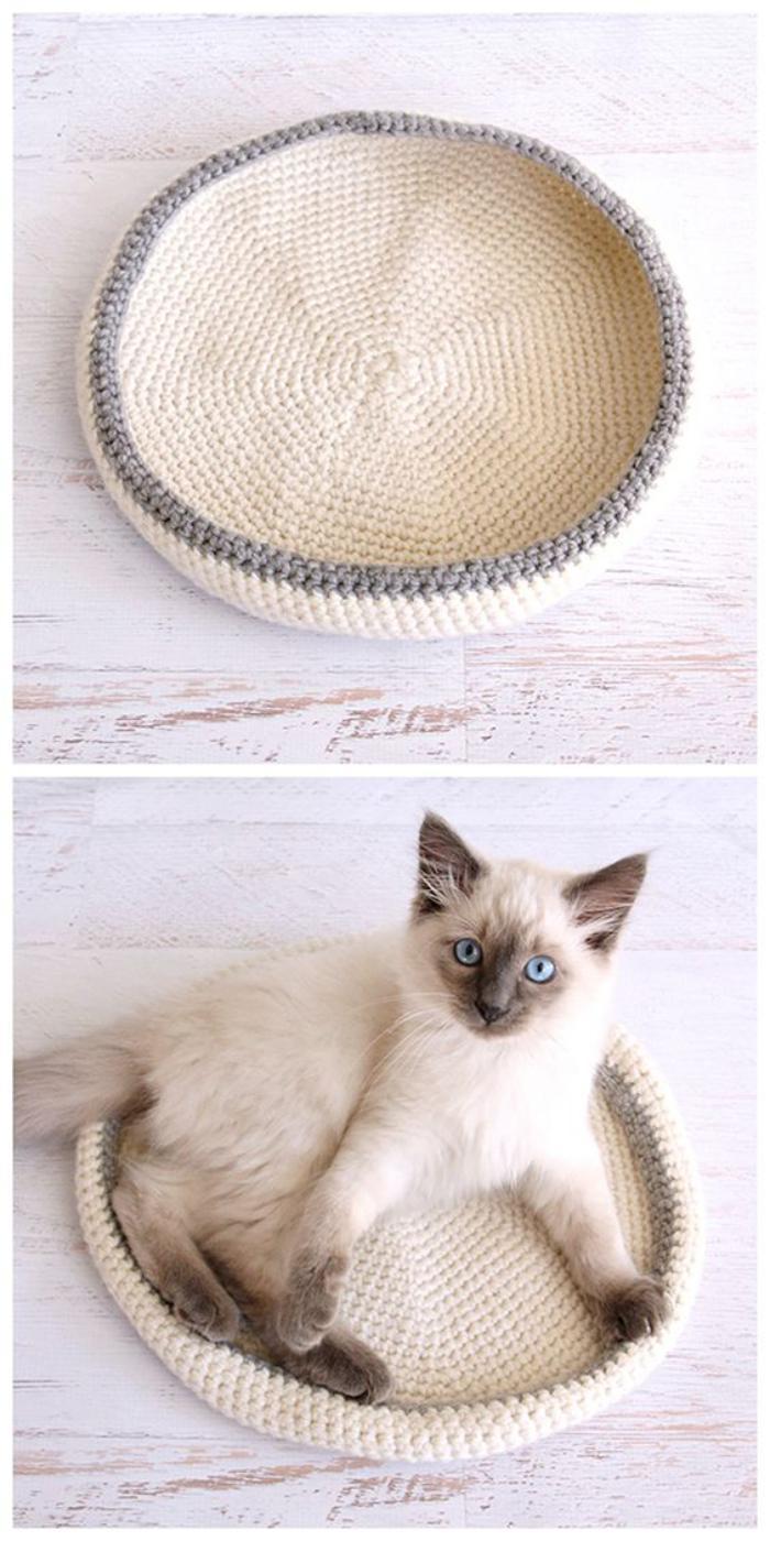 niche-pour-chat-lit-de-chat-au-tricot-blanc