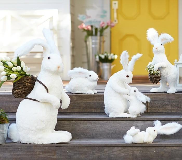 oeufs-de-pâques-décoration-de-pâques-decoration-pour-paques-blanches-lapins