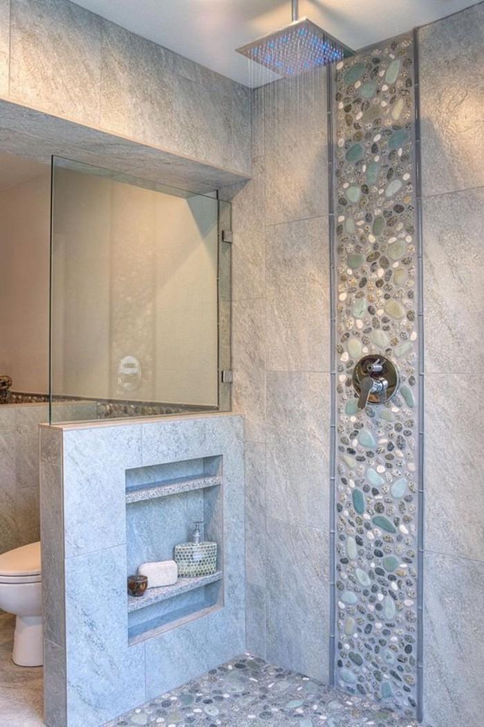 salle de bain carrelage galet gris bleu comment - Salle De Bain Bleu Et Gris