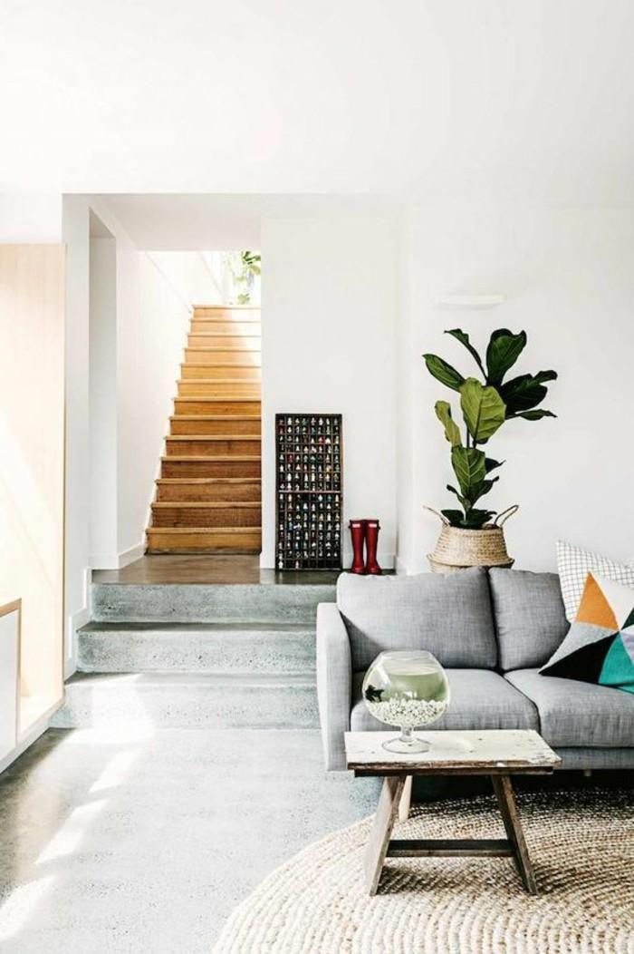 salon-sol-en-beton-decoratif-plan-de-travail-béton-cire-tapis-rond-en-rotin-plantes-vertes